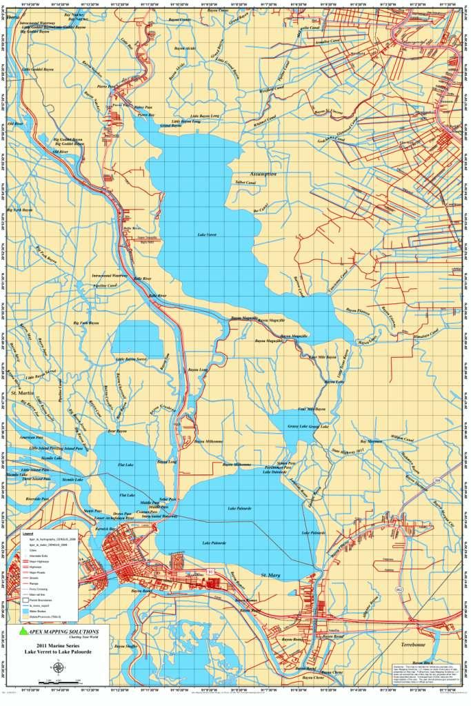 lake verret fishing map Lake Verret And Lake Palourde Map lake verret fishing map