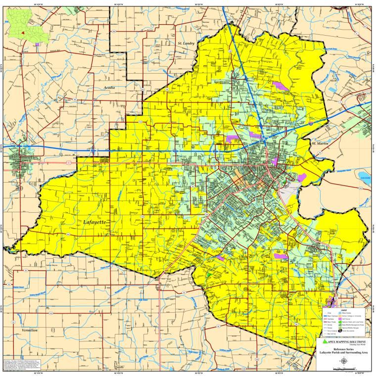 Lafayette Parish Map